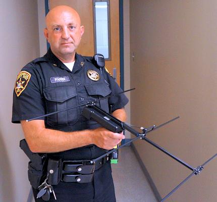 Deputy Joseph Parisi with Project Lifesaver handheld receiver