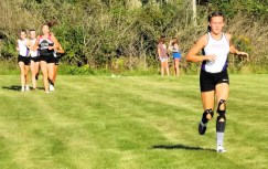 Kayla Sondrup stays ahead of a group of runners