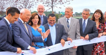From left to right: Angelo Santabarbara, state assemblyman, Paul Tonko, congressman, Kathy Hochul, lieutenant governor, Bill Finch, acting executive director of the Thruway Authority and Canal Corporation, Michael Villa, mayor, Brian Stratton, director of the Canal Corp, Mark Kilmer, president of the Fulton Montgomery Chamber of Commerce, former mayor Ann Thane