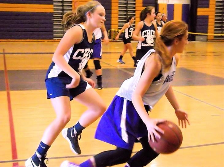 Gianna Derosa brings the ball up court