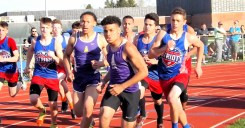 Mikey Gomez at the start of the 800 meter race