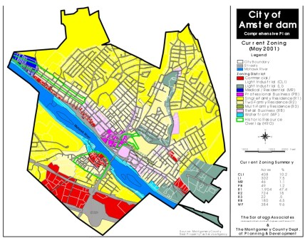 City of Amsterdam's current zoning map from the 2001 Comprehensive Plan