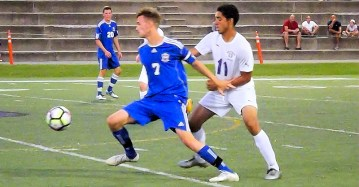 BP's Zach Monks and AHS Jeremy Espinoza battle for the ball
