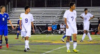 AHS strikerKevin Vargas #9 and Ever Arevalo #7 with BP's Will Austin