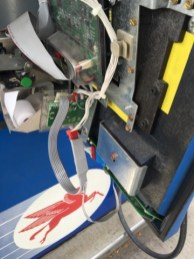 Credit card skimmer device installed in Fonda convenience store gas pump. Photo provided by Montgomery County.