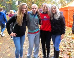 Mackenzie Dezolt (center left) and Jordyn DeNeuville (center right) with 2013 champions Victoria Oplaka (left) and Alexandria Opalka