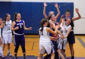 Pritchard and Stanavich battle Johnstown for the ball