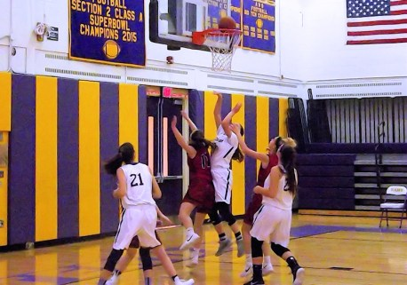 Jackie Stanavich goes in for two
