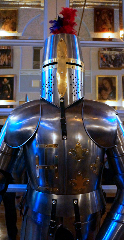 One of the many suits of armor lining the grand hall