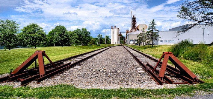 End point of the Amsterdam Chuctanunda and Northern Railroad spur at the former FGI plant on Edson Street, Amsterdam, NY