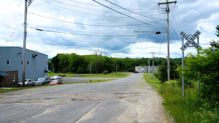 Tracks intersect Sam Stratton Road