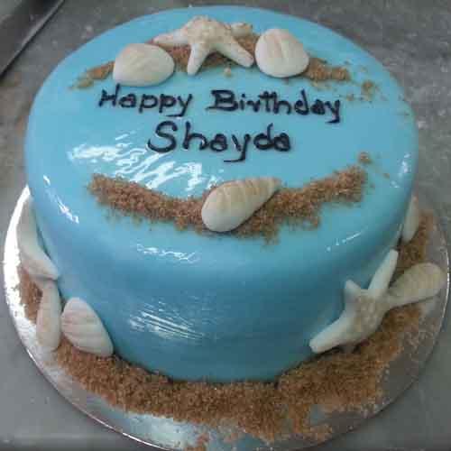 Beautiful Birthday Light Blue Cake