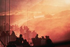 Dawn of day two of the Yom Kippur war in 1973. An Israeli armoured brigade makes its way up to the Golan Heights to relieve the forces under Syrian attack