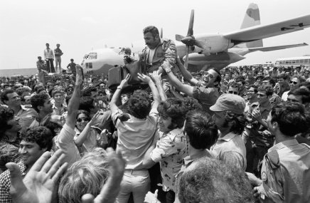 'Not all terrorist attacks end in tragedy. This is the happy outcome of the hijacking of an Air France airliner flying the Tel Aviv-Paris route. The plane landed in Idi Amin's Uganda and the Israeli passengers were held hostage at the Entebbe airport. On 4 July 1976, an intrepid group of Israeli commandos flew to Entebbe, engaged the Ugandan forces and brought all the hostages back, except for one elderly Israeli woman. The photo shows the crowd lifting the squadron leader of the rescue planes on their return to Israel'