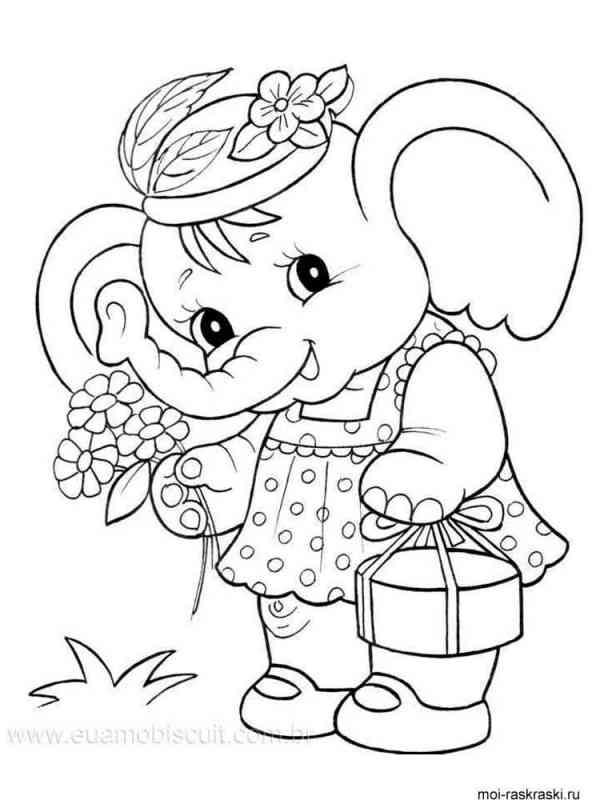 Раскраски Слон - распечатать в формате А4