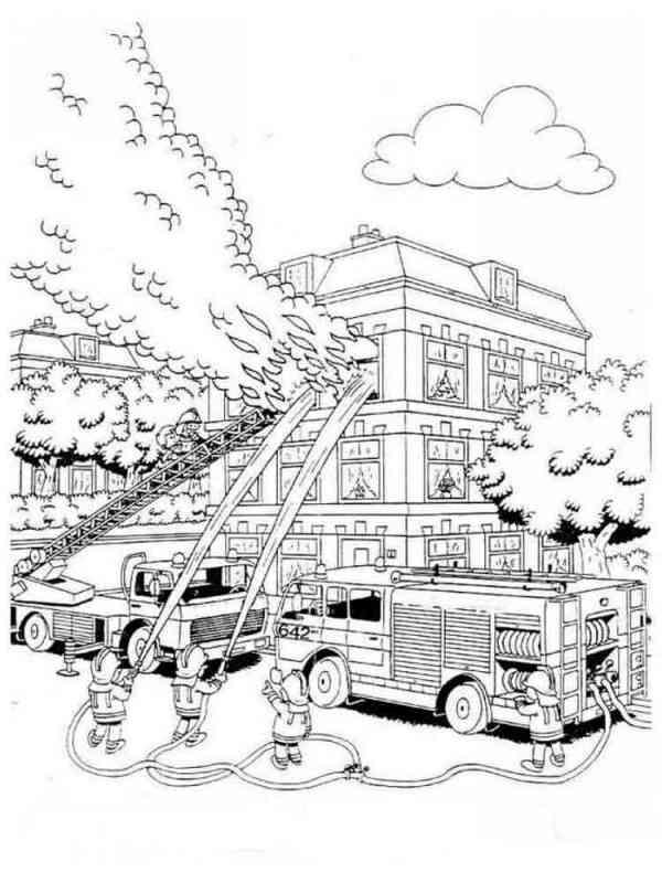 Раскраски Пожарные машины Скачать и распечатать раскраски