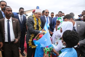 President Farmajo lands in Dhuusamareeb for Federal and State Consultative Conference.