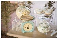 Dessert bar using Moi Decor Hire's cake stand, candy jars and blue vintage scale. Photo by hannalee.co.za