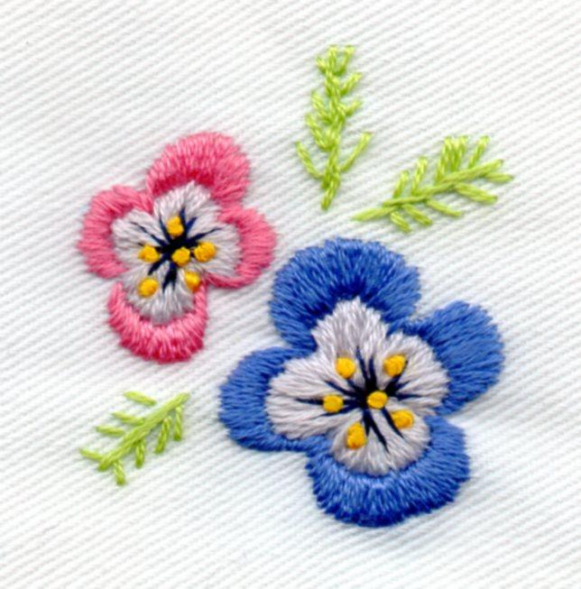パンジー刺繡