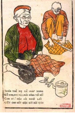 """Tranh cổ động – Phòng thông tin huyện Đại Từ, Thái Nguyên phát hành cổ động cho phong trào """"Mùa đông binh sỹ"""" trong kháng chiến chống Pháp."""
