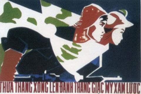 """Tranh cổ động """"Thừa thắng xông lên đánh thắng giặc Mỹ xâm lược"""" của họa sĩ Huỳnh Văn Gấm"""
