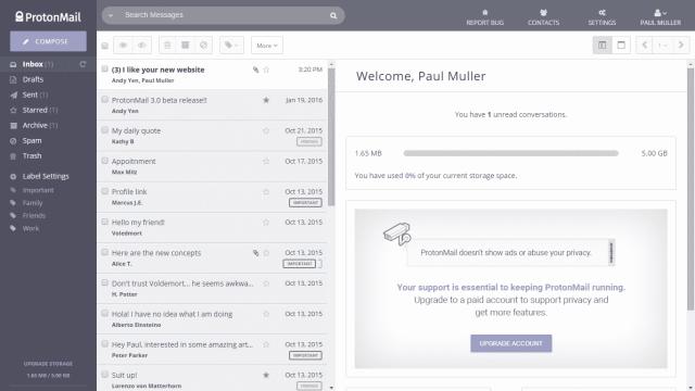 ProtonMail - úvodní obrazovka
