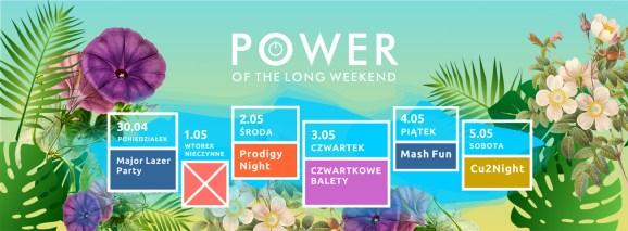 "plakat imprezy ""power of the long weekend"""
