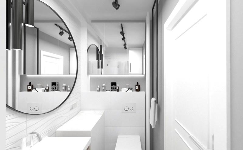 Projekt malutkiej łazienki w bloku z zachowaniem jej układu funkcjonalnego.
