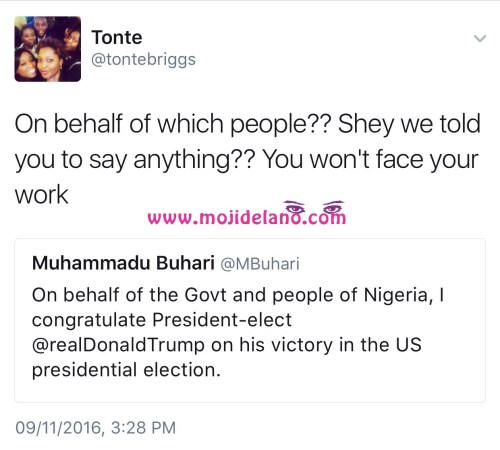 See Hilarious Response Twitter User Gave To President Buhari's Congratulatory Tweet To President Elect Trump