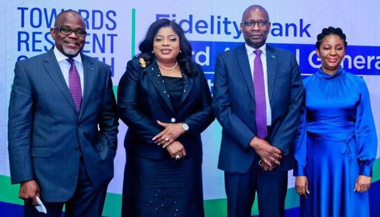 L-R: Non- Executive Director, Fidelity Bank Plc, Alhaji Isa Inuwa; Managing Director / Chief Executive Officer, Fidelity Bank Plc, Nneka Onyeali – Ikpe; Chairman, Board of Directors, Fidelity Bank Plc, Mustapha Chike- Obi; Company Secretary, Fidelity Bank Plc, Ezinwa Unuigboje at the 33rd Annual General Meeting 2020 FYof Fidelity Bank in Lagos, recently.