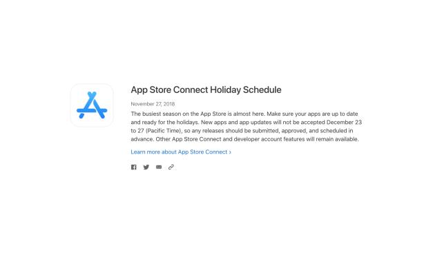 Przerwa świąteczna w App Store Connect