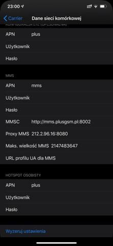 MMS w sieci Plus dla iPhobe XR Xs Xs Max