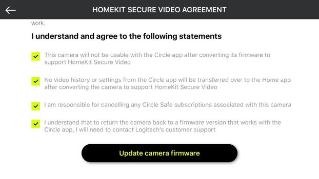 HomeKit Secure Video konwersja w Logi Circle
