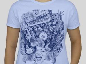 Mojo Ladies t-shirt, lt. blue with blue print