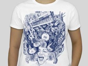 Mojo Ladies t-shirt, White with blue print