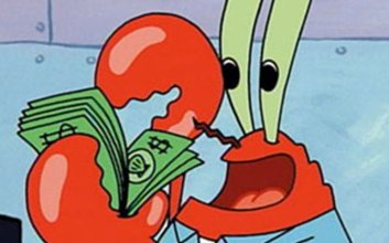 karakter sisi jelek kejahatan kekurangan sifat buruk tuan krabs spongebob squarepants mojok.co