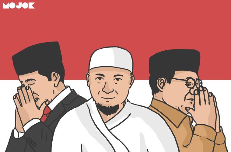 Jokowi Prabowo jenguk Arifin Ilham MOJOK.CO