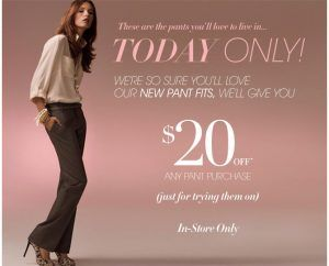 anntaylor 300x242 Ann Taylor: $20 Off $20 Or More Pants   Today only