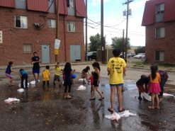Innae (in yellow) with the children following our balloon fight