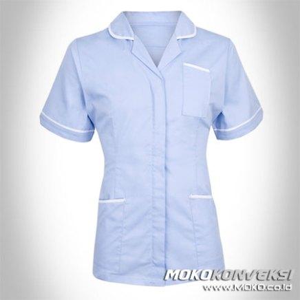 contoh model baju perawat muslimah seragam rumah sakit warna pastel putih