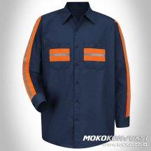 baju safety desain baju lapangan navy lengan panjang