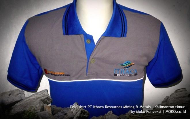 Contoh Desain Kaos Seragam Polo Shirt Tambang PT Ithaca Resources Kalimantan Timur Indonesia