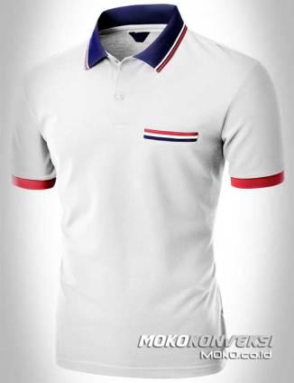 kaos kerah pria polo shirt triple stripes warna putih moko konveksi
