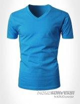 sablon kaos oblong v neck warna biru - moko konveksi jual kaos polos murah desain sendiri