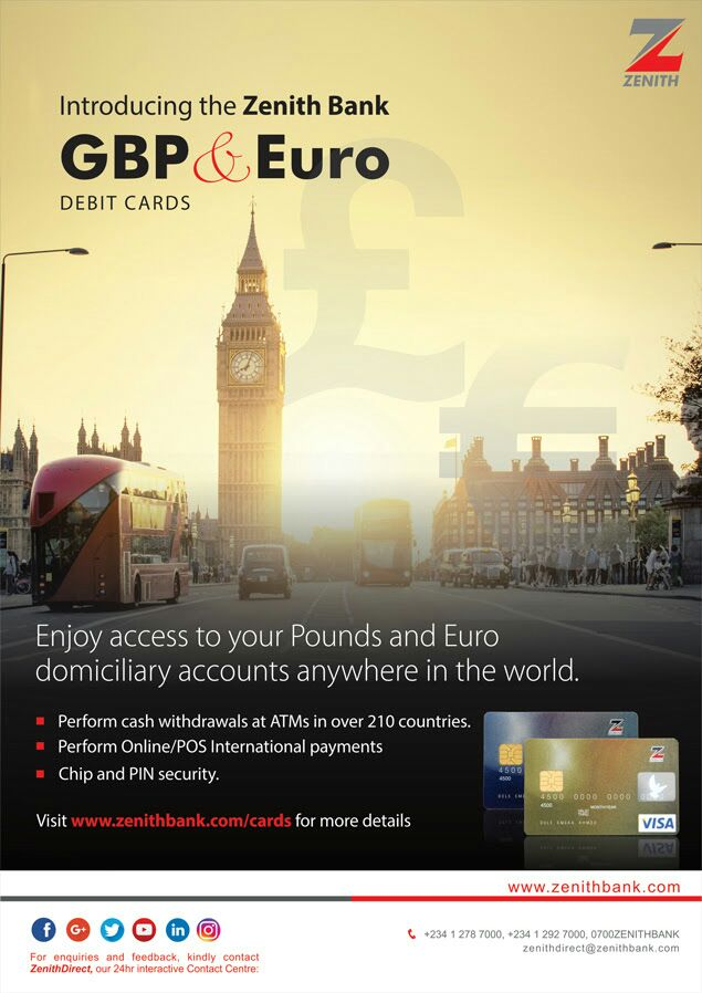 Zenith Bank pounds, euro credit cards