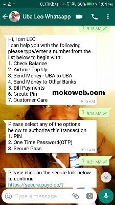 UBA whatsapp banking services