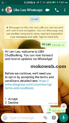 Uba whatsapp chatting