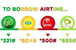 codes to borrow airtime MTN airtel glo 9mobile