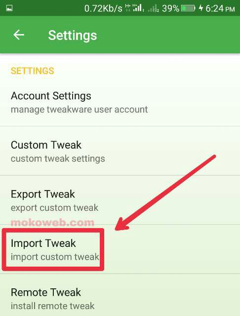 Import tweaks tweakware