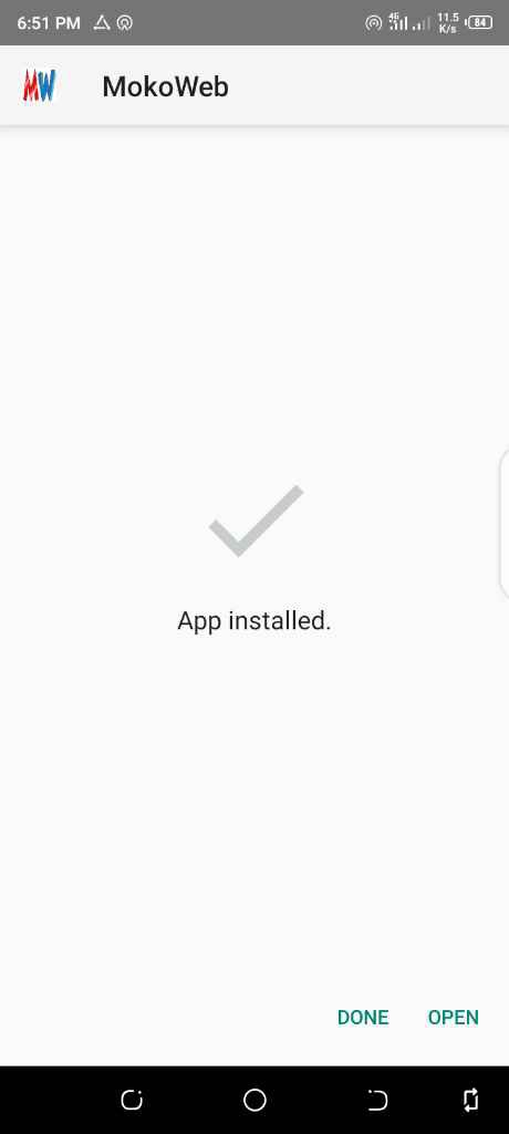 Installed mokoweb app